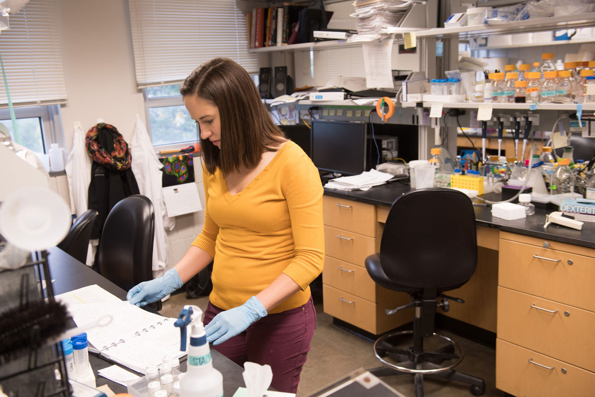 Students working in Joshua Weiner's lab in the Biology Building.