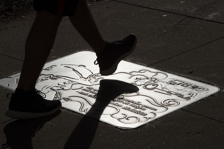 Literary Walk sidewalk plaques in downtown Iowa City