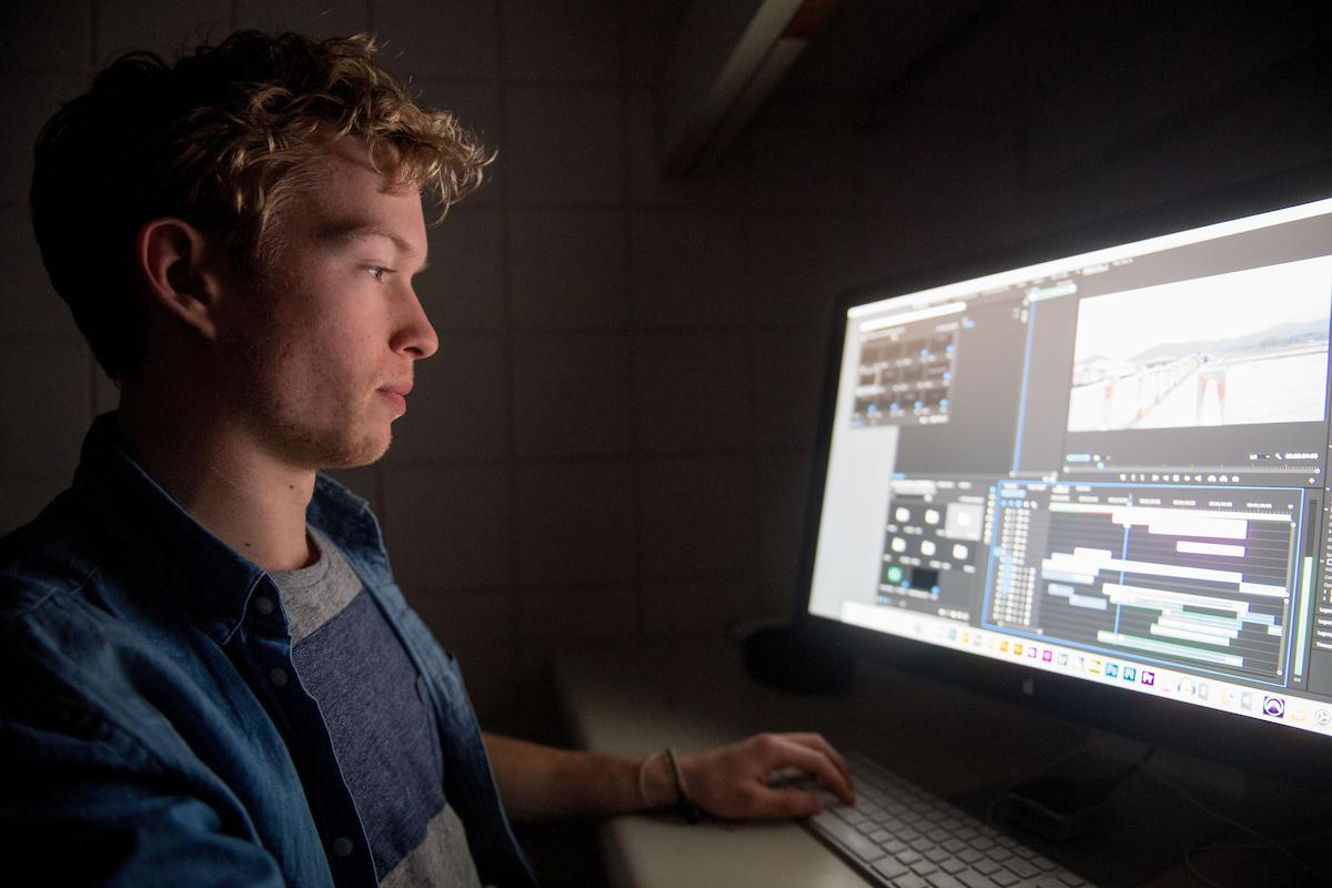 Skyler Knutzen working on a project