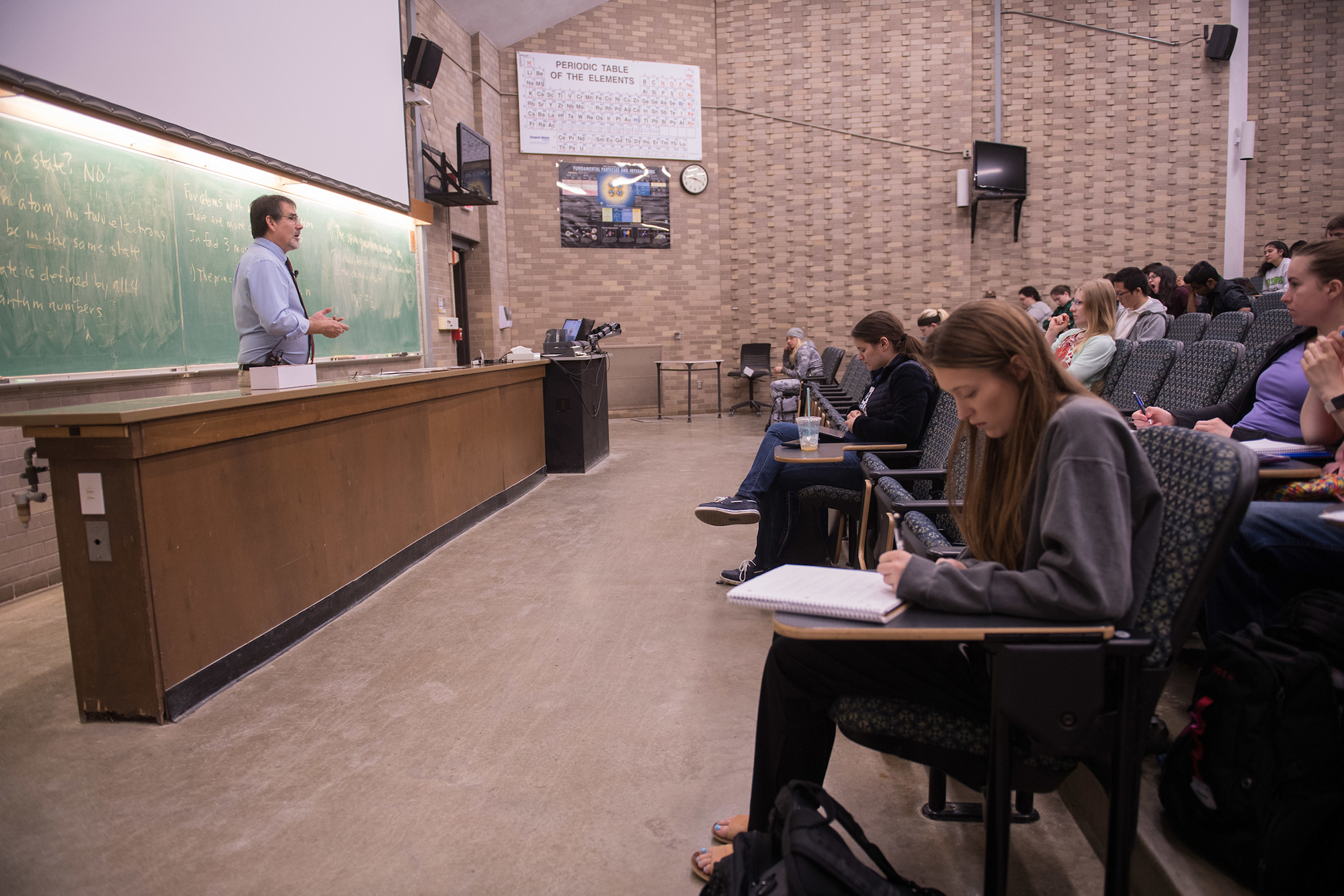 university of iowa professor craig kletzing teaching in a classroom
