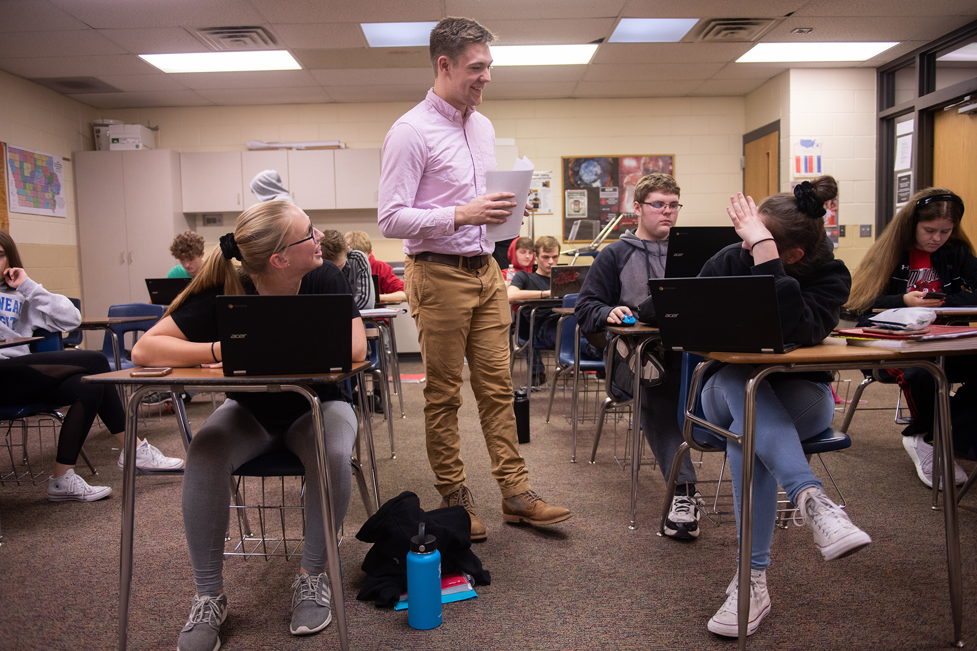 Kaleb Farnham, University of Iowa graduate, student teaching during the fall 2019 semester