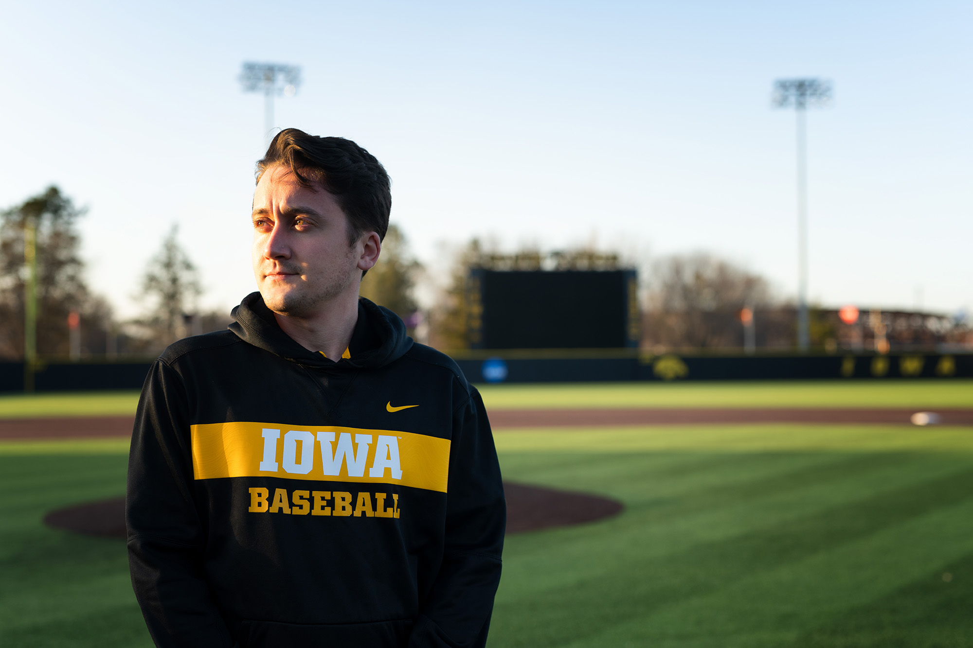 University of Iowa business analytics student and Iowa baseball staff member Sam Bornstein at Duane Banks Field