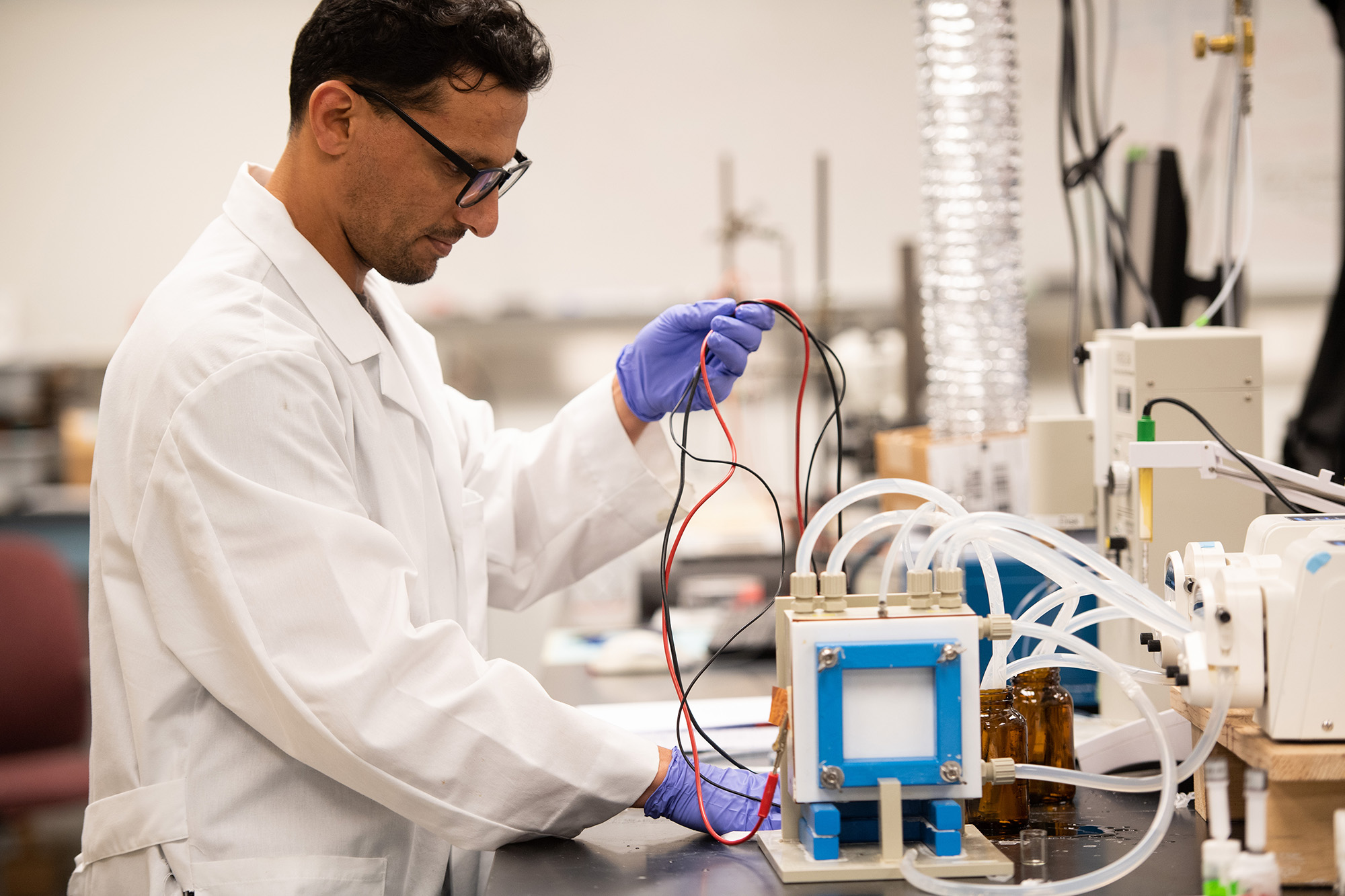 University of Iowa student working in a lab