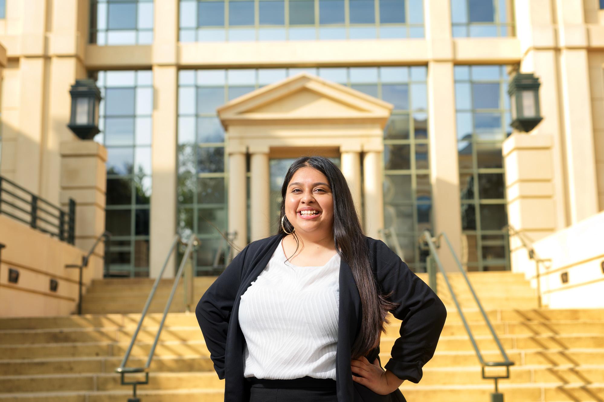 University of Iowa student Luz Alcala standing on campus