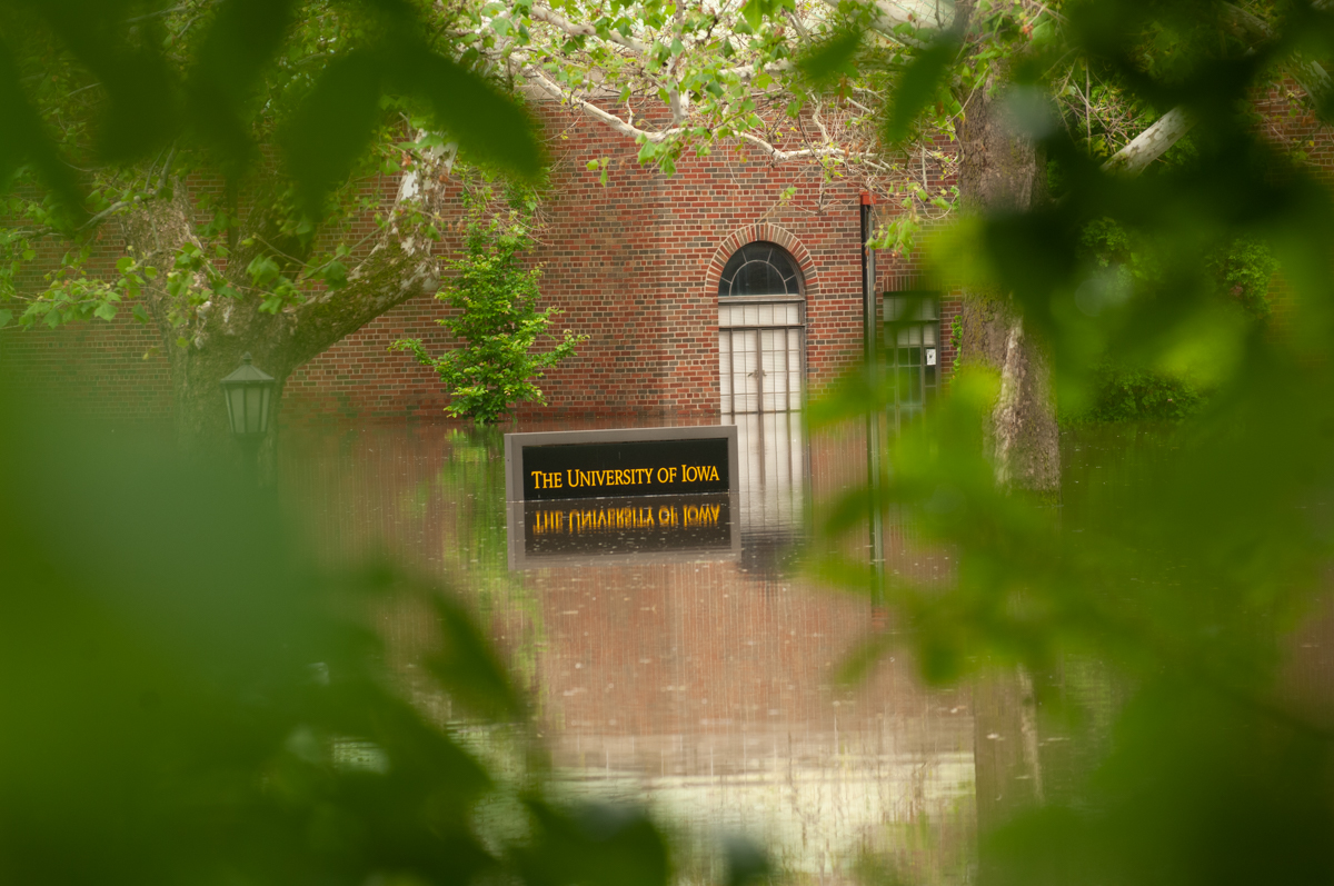 University of Iowa sign in flood waters