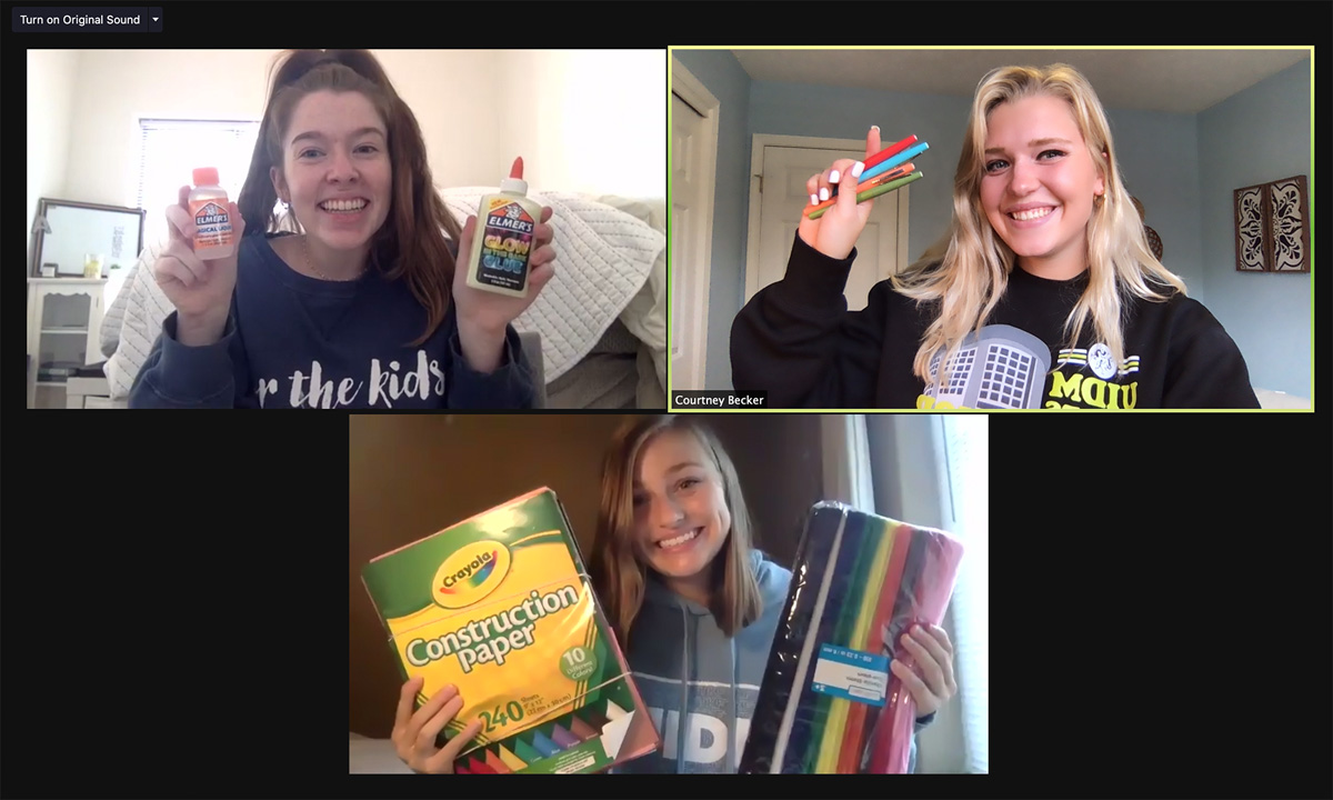 University of Iowa Dance Marathon students hold a crafting event on Zoom with DM familes