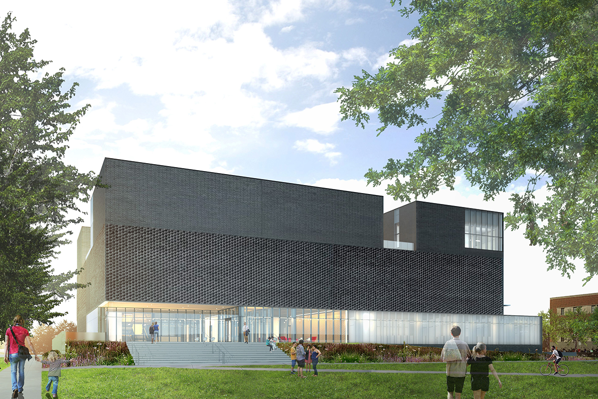 rendering of the university of iowa stanley museum of art, east side of the building