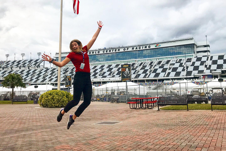 University of Iowa graduate Hannah Conlisk at Daytona International Speedway
