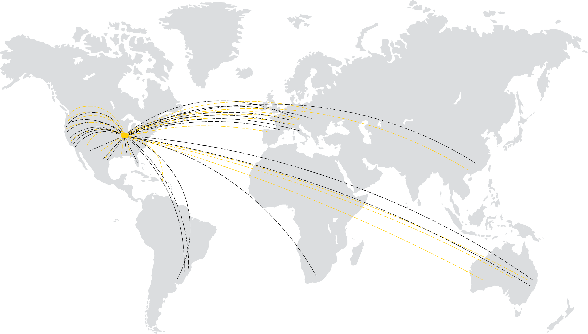 world map showing dashed lines from iowa city to points all over the world