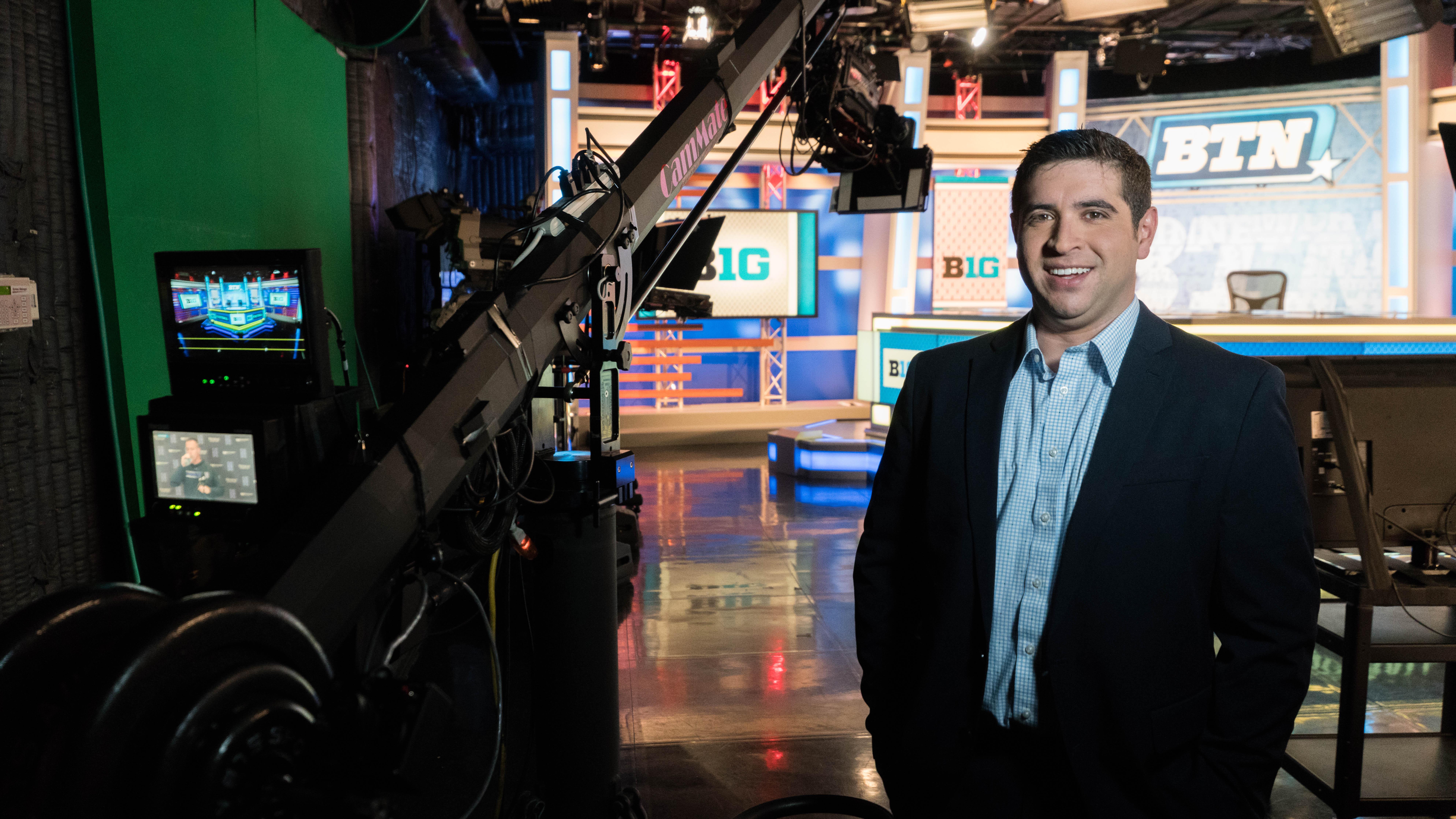 University of Iowa graduate Jordan Loperena in the Big Ten Network studio