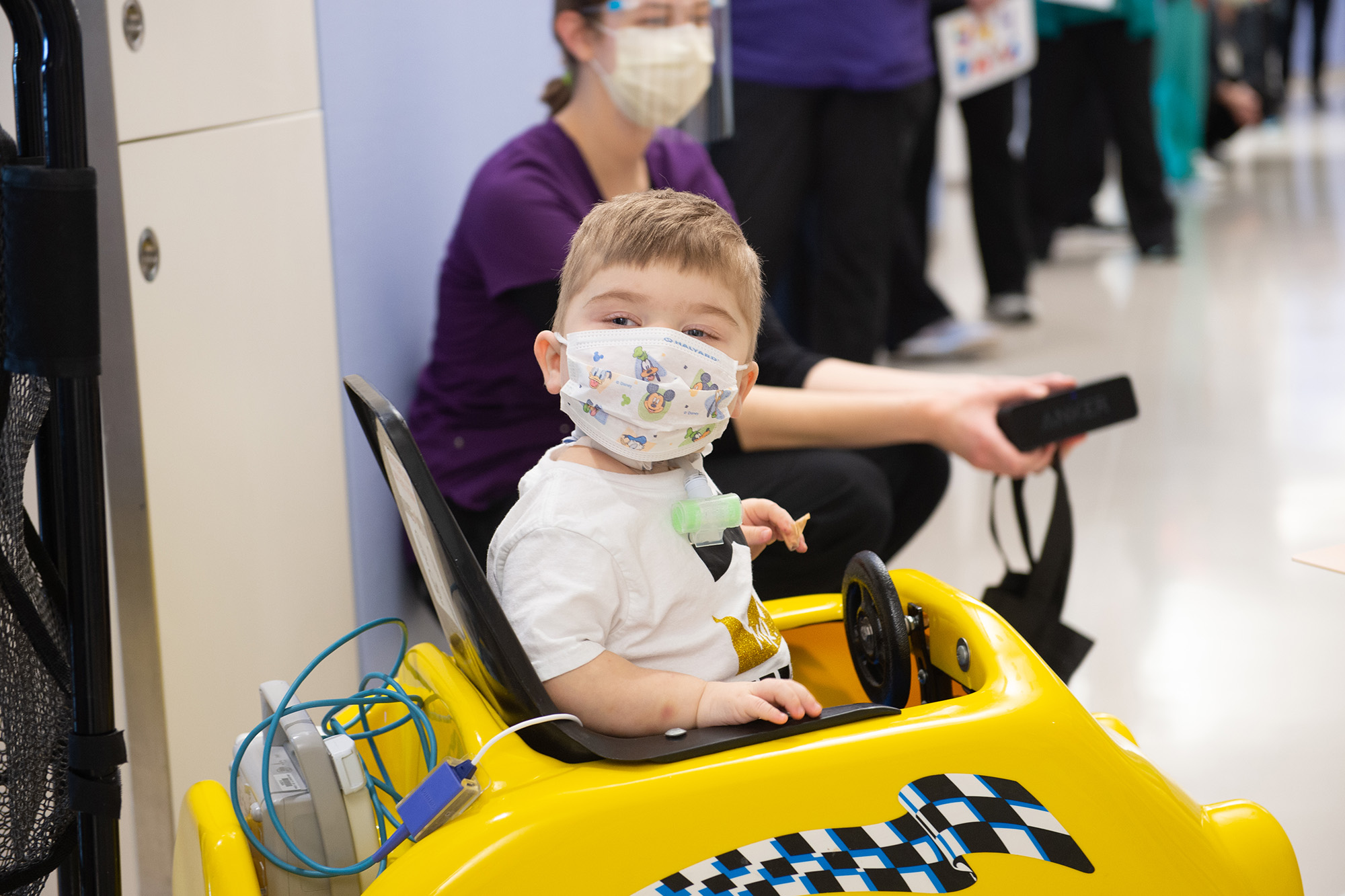 Aidan Moles during his send-off parade at University of Iowa Stead Family Children's Hospital