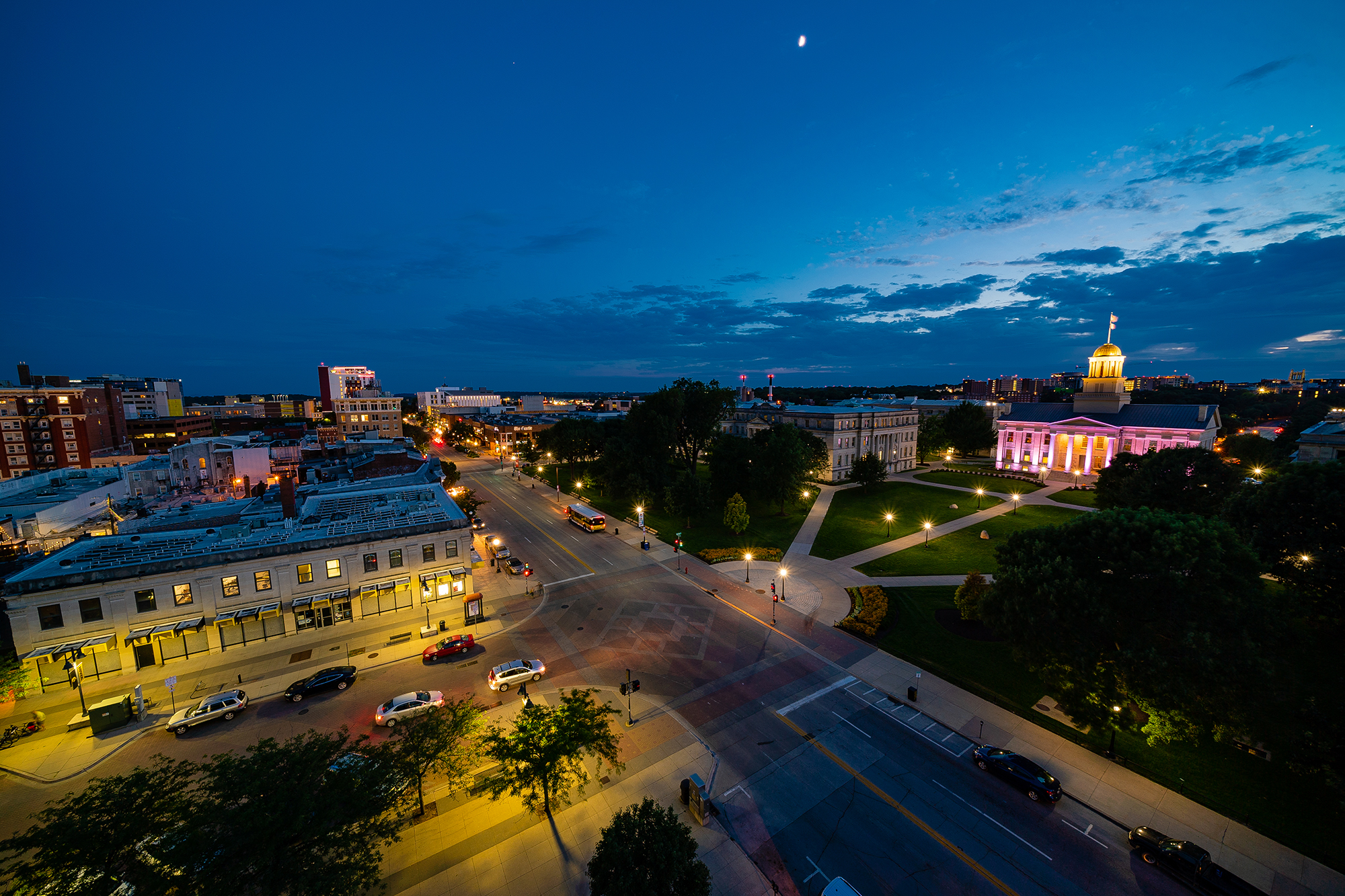 view of the university of iowa campus from a rooftop