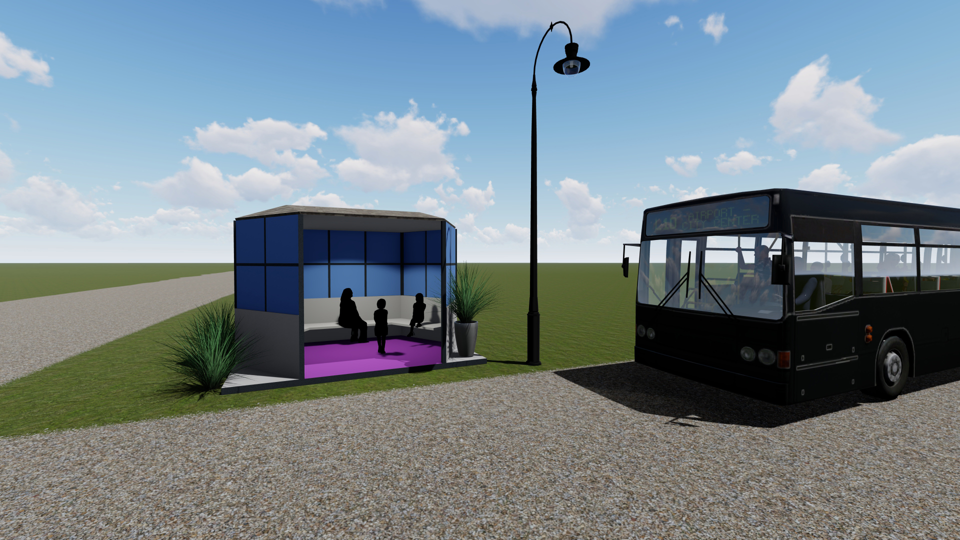 a preliminary rendering of the bus stop university of iowa engineering and art students are working on with officials in plymouth, iowa