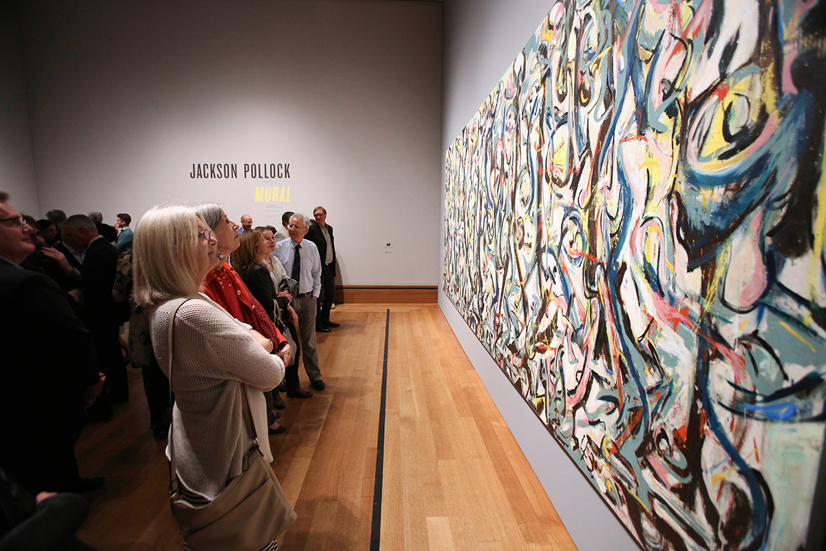 Jackson Pollock's Mural, part of the UI Stanley Museum of Art's collection, hangs at the Getty Museum