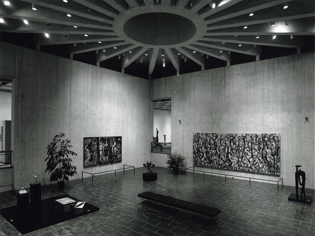 the sculpture court in the university of iowa museum of art in 1969, featuring Pollock's Mural