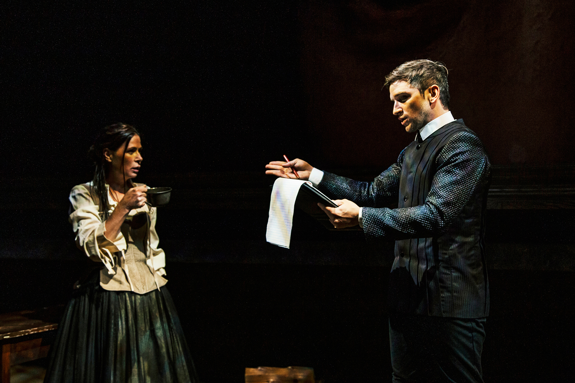Maura Tierney and Evan Jonigkeit perform in Witch, written by University of Iowa alumna Jen Silverman