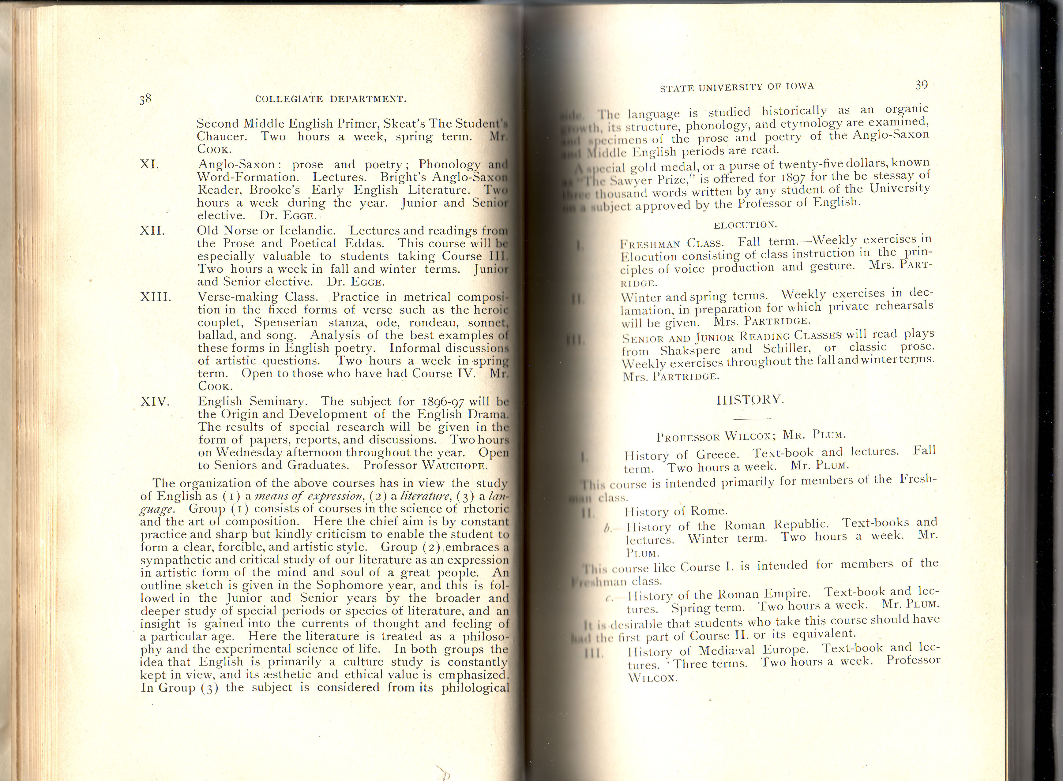 Spring 1897 catalog for the University of Iowa that makes mention of Verse Making
