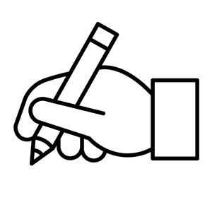illustration of a hand holding a pen