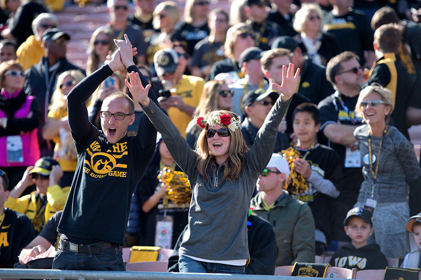 Hawkeye fans at the Rose Bowl