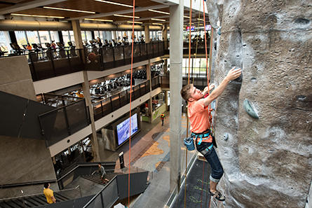 cardio and climbing activity in the university of iowa campus recreation and wellness center