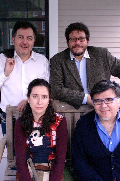 clockwise from top left: Roberto Ampuero, Santiago Gamboa, Ana Merino, and Santiago Vaquera