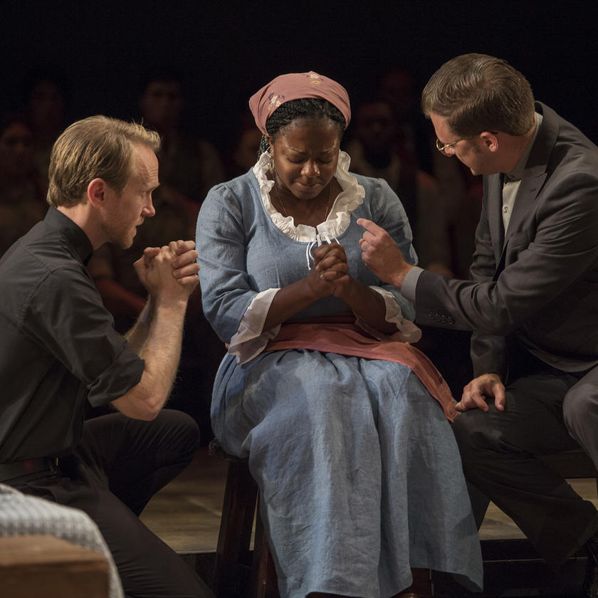 University of Iowa theatre arts student Alexi Bolden performing in The Crucible