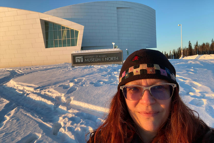 University of Iowa alumna Angela Linn outside the University of Alaska Museum of the North