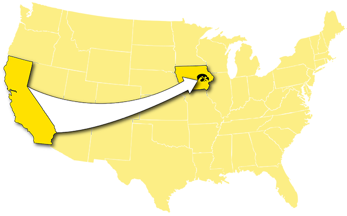 graphic of united states with arrow from california to iowa