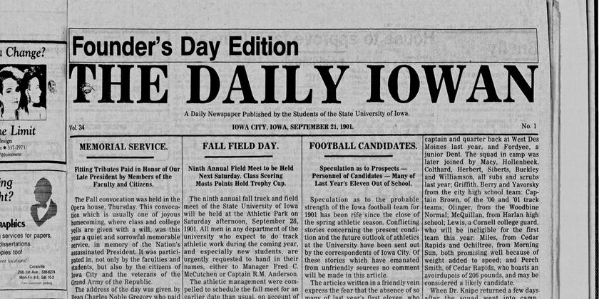 Part of the front page of the first issue of the Daily Iowan