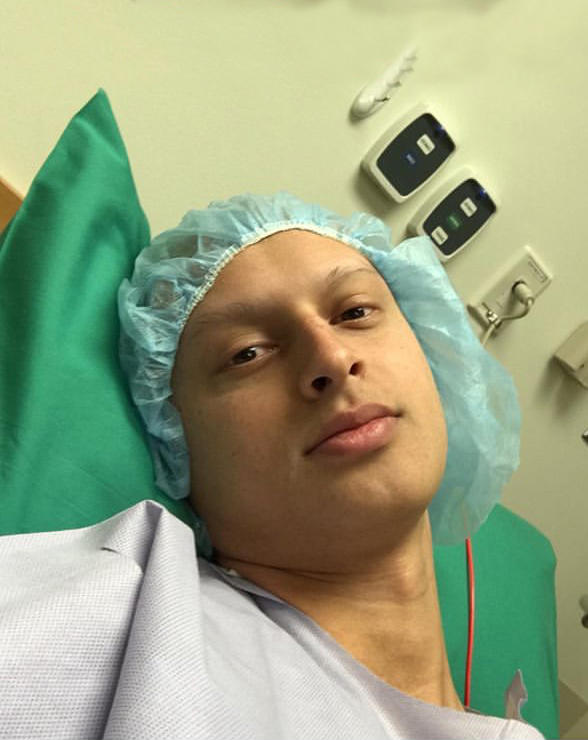 Dominic Gentile shared a selfie on social media just before he had surgery to remove a tumor from his femur in October 2019.