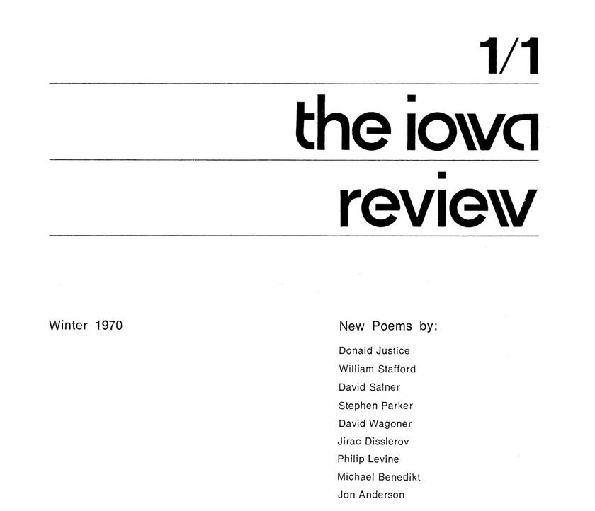 Part of the front cover of the first issue of the Iowa Review