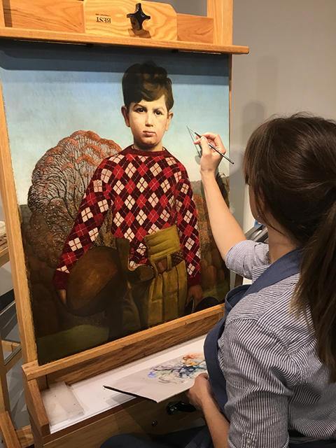 Rita Berg, Associate Paintings Conservator at Midwest Art Conservation Center (MACC, Minneapolis, MN), inpainting, or filling losses with fully reversible material without covering original paint