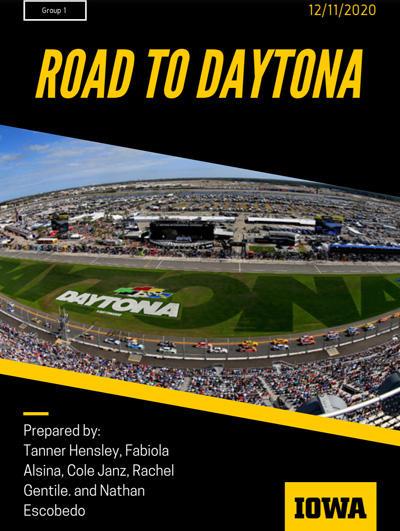 University of Iowa students' Road to Daytona presentation cover slide