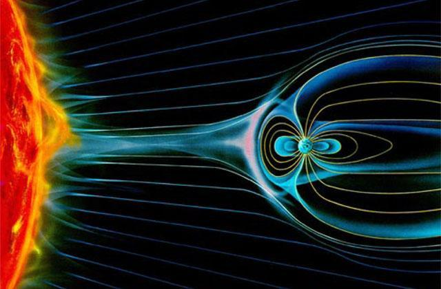 an illustration of the mysterious, powerful interactions between the magnetic fields of the sun and Earth