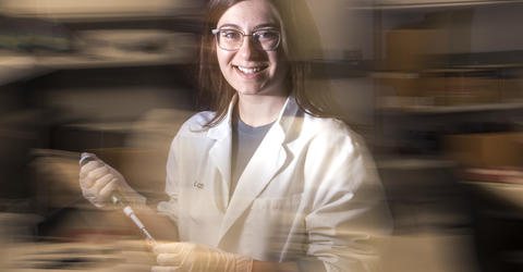 University of Iowa graduate Mikaela Mallin in the laboratory