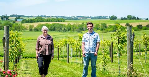 University of Iowa faculty member Kristy Walker and Iowa graduate student Matt Bare at a vineyard near Iowa City