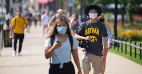 students walking on university of iowa campus