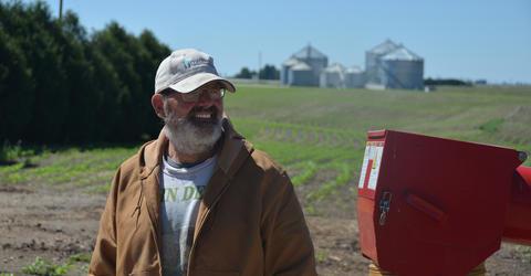 Dan Berns on his farm in rural Farmersburg