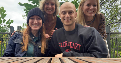 Dominic Gentile's mother and two cousins visited him in Iowa City while he was receiving treatment.