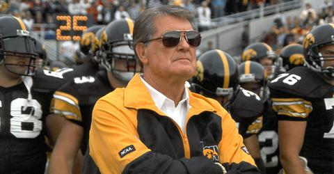 Legendary University of Iowa football coach Hayden Fry