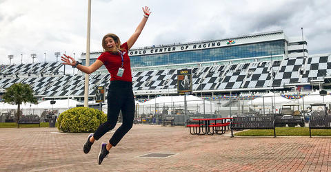 University of Iowa graduate Hannah Conlisk at Daytona International Speedway
