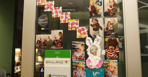 photos of Jaylee and her family, decorating her room at the intensive care unit at University of Iowa Hospitals and Clinics