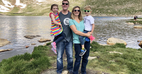 Kelly WIlson Bossley with her husband and twin children