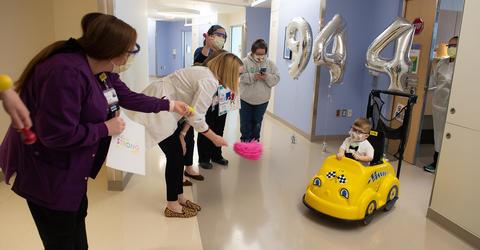 Aidan Moles having his send-off parade at University of Iowa Stead Family Children's Hospital