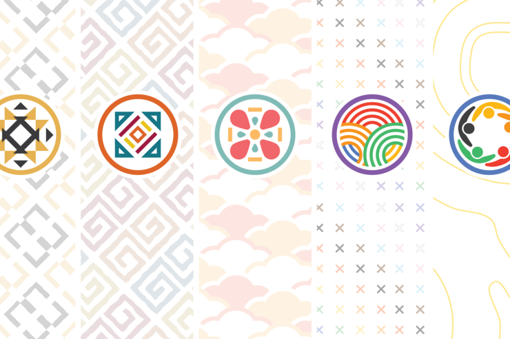 Icons and patterns representing Iowa's cultural centers
