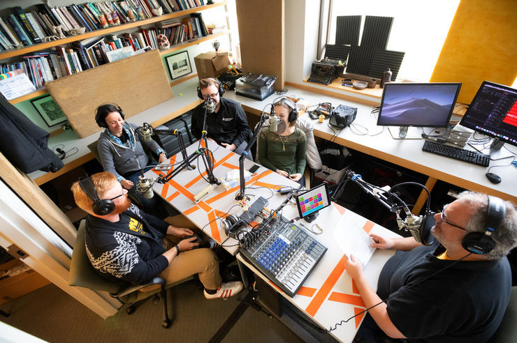 A recording session for The Short Coat Podcast