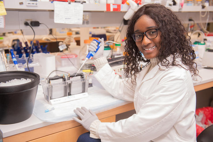 University of Iowa undergraduate researcher Margaret Mungai