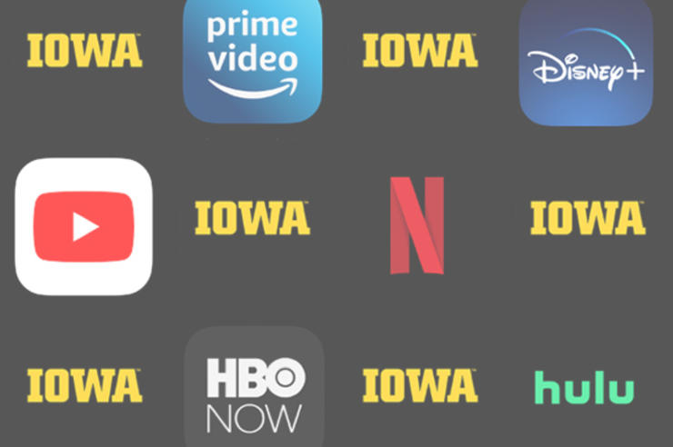 university of iowa logos and streaming service icons