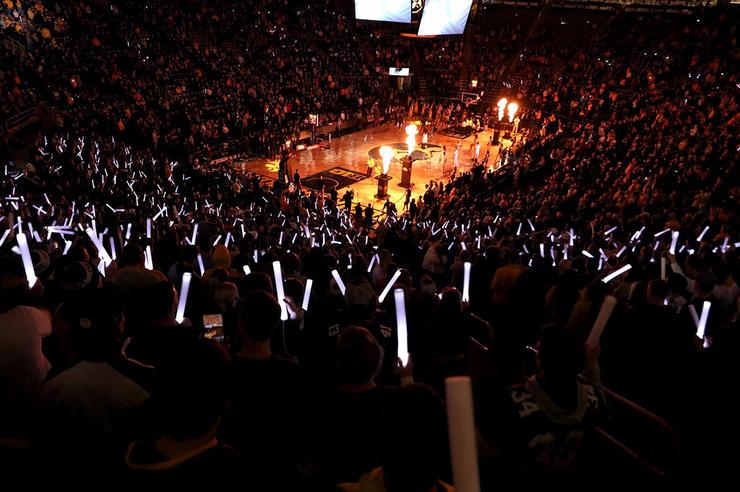 pregame festivities at hawkeye basketball game