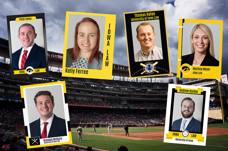 University of Iowa law students shown on baseball cards with a ballpark scene in the background